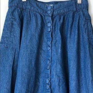 Zara Basic Button Down Denim Skirt with Pockets